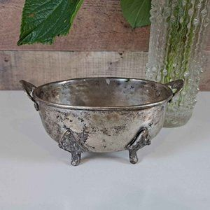 Vintage Footed Silver Planter Catch-all Dish